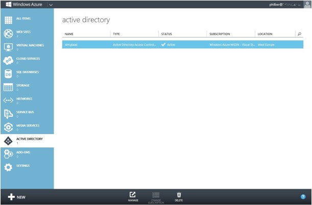 Active Directory WindowsAzure