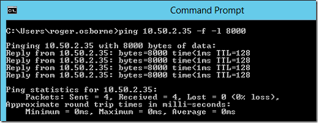 Command prompt Ip ping