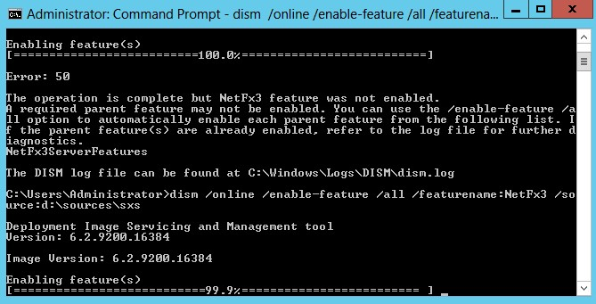 Enabling Features with dism commando