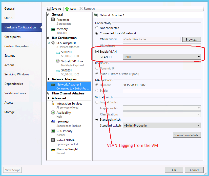VLAN Tagging in System Center 2012 R2 Virtual Machine