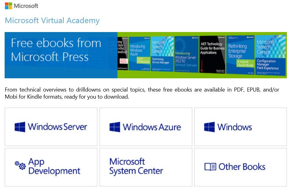 Microsoft Virtual Academy Free E-books Site #MVA #sysctr
