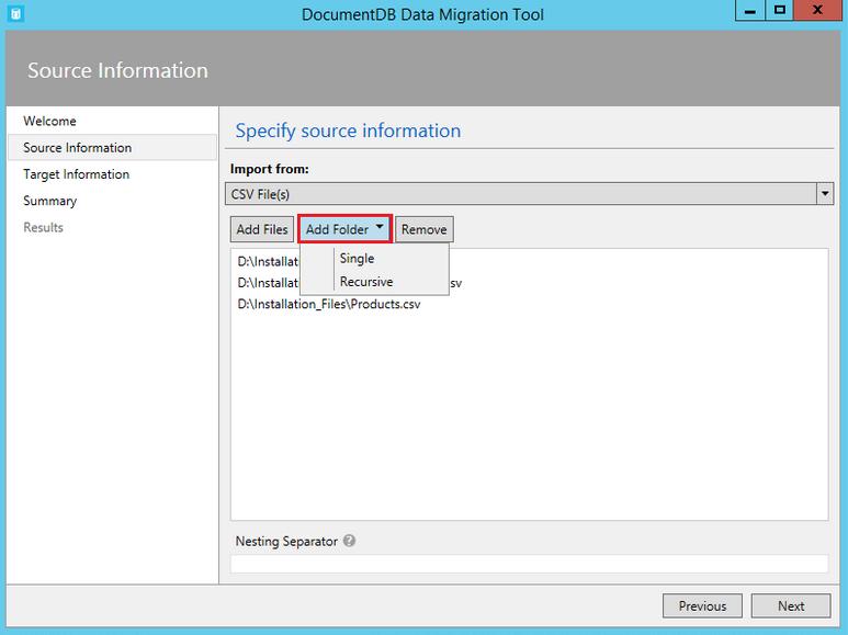 DocumentDB data