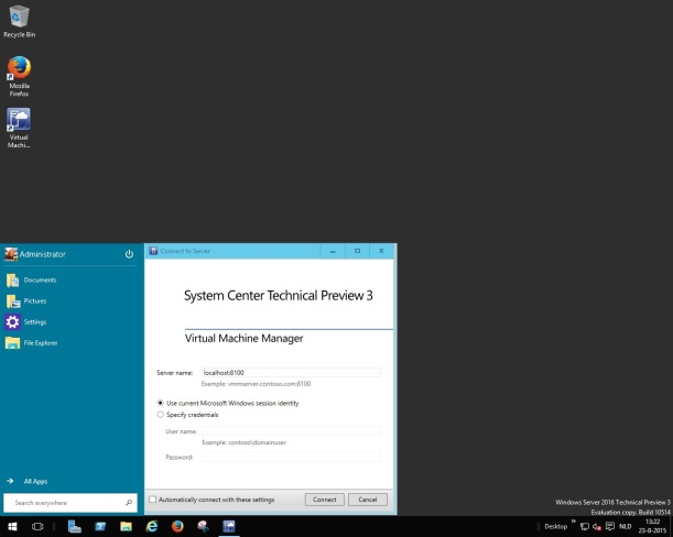 Windows Server2016TP3-SCVMMTP3
