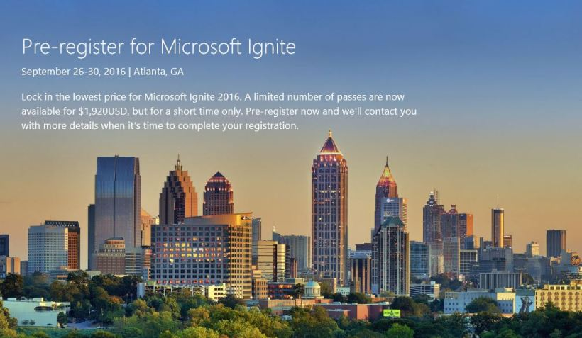 Pre Register Ignite 2016