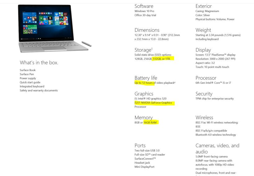 Surface Book Specs