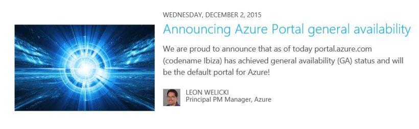 Azure portal GA