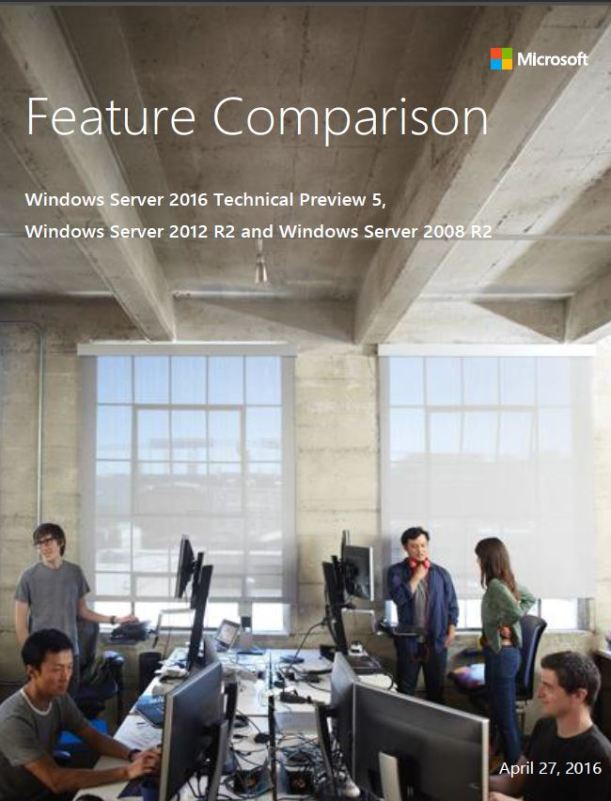 Features Comparison Windows Server 2016 TP5