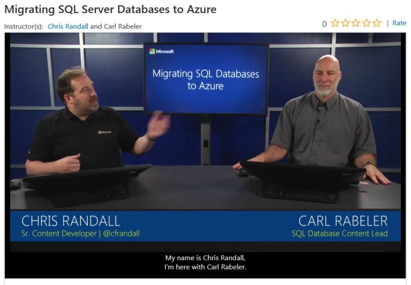MVA Course Migrating SQL to Azure
