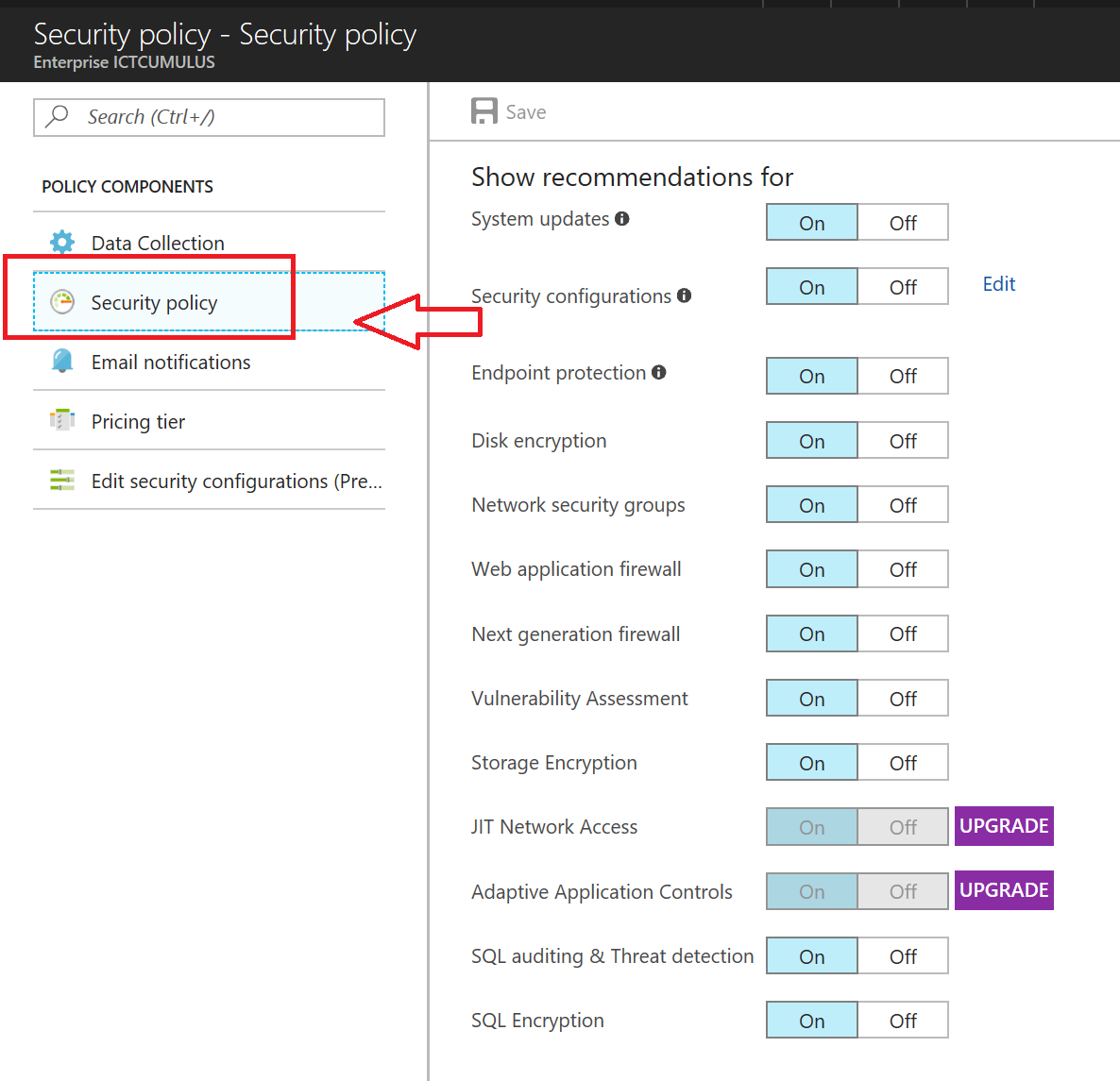 Microsoft Azure Security Center Overview Cloud Data Policy You Can Edit The Default For Each Of Your Subscriptions In To Modify A Must Be An Owner
