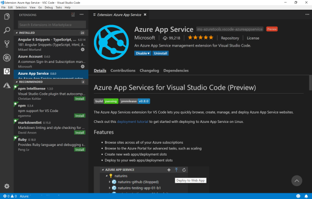 Deploy #Azure WebApp with Visual Studio Code and Play with #Kudu and App Service Editor and #VSC