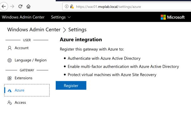 Connecting Windows Admin Center to #Microsoft Azure Subscription #WAC #Azure