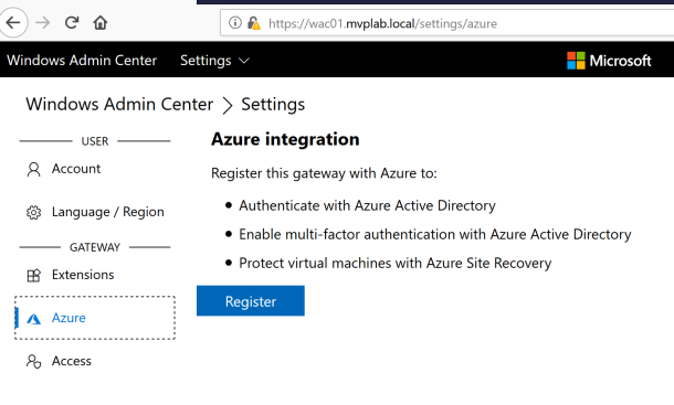Connecting Windows Admin Center to #Microsoft Azure Subscription #WAC #Azure