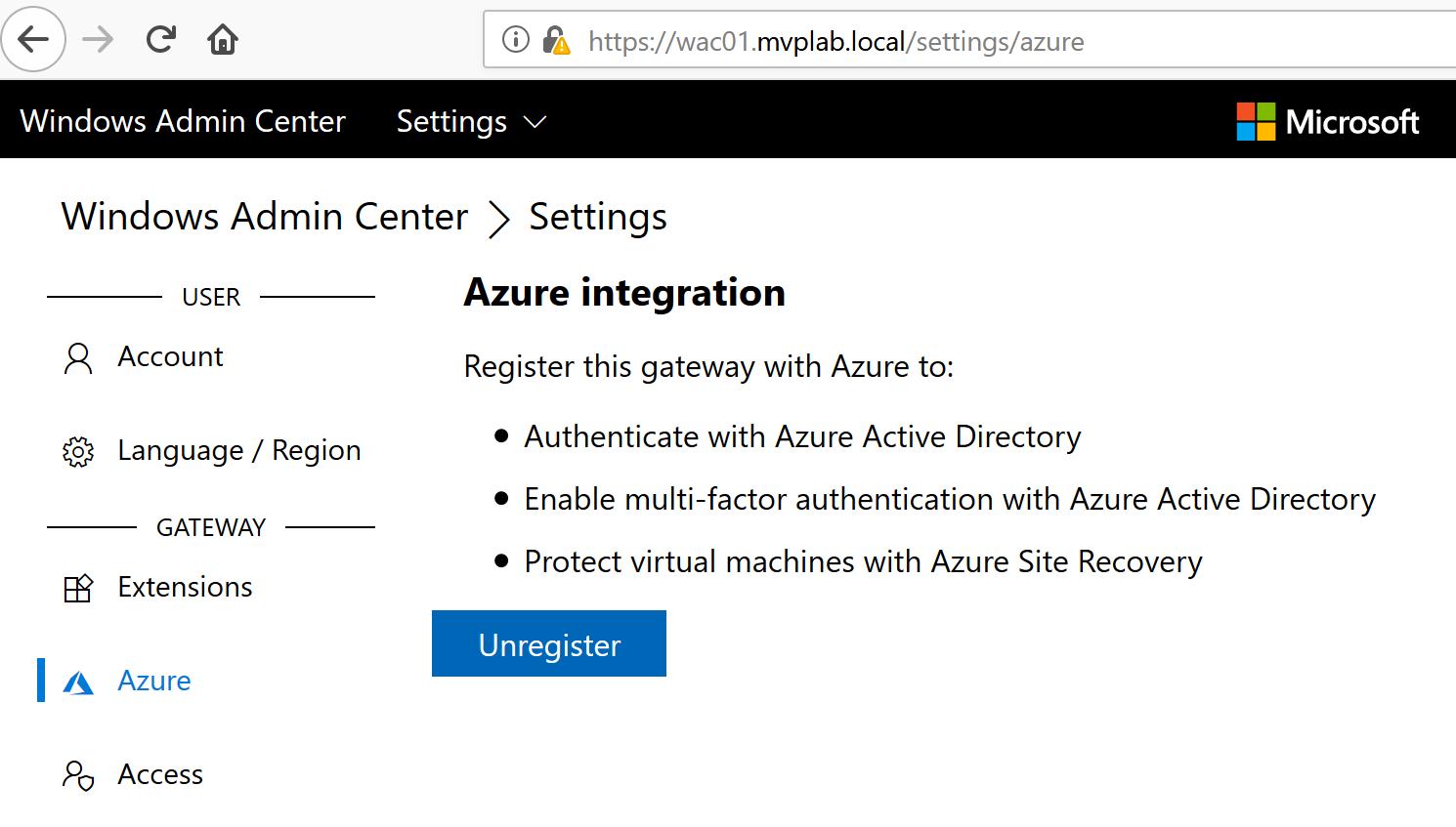 Connecting Windows Admin Center to #Microsoft Azure