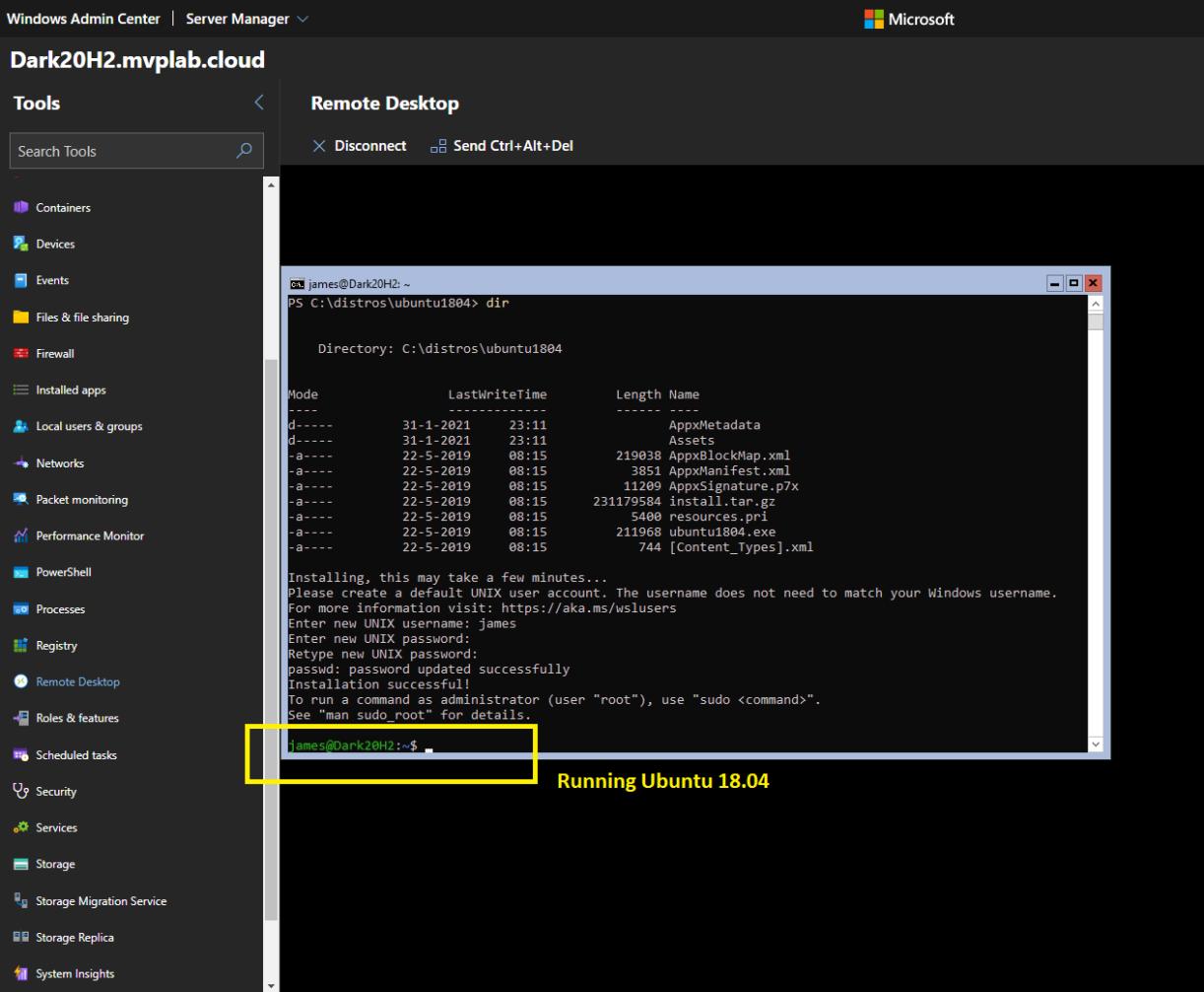 #WindowsAdminCenter and Windows Server 20H2 Core with WSL2 #Ubuntu Distro #Winserv #WSL2